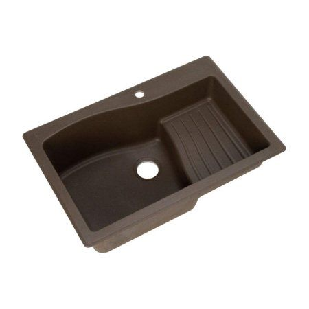 Swan Qzad-3322-075 33 inch x 22 inch Granite Dual Mount Kitchen Sink, Available in Various Colors, Brown