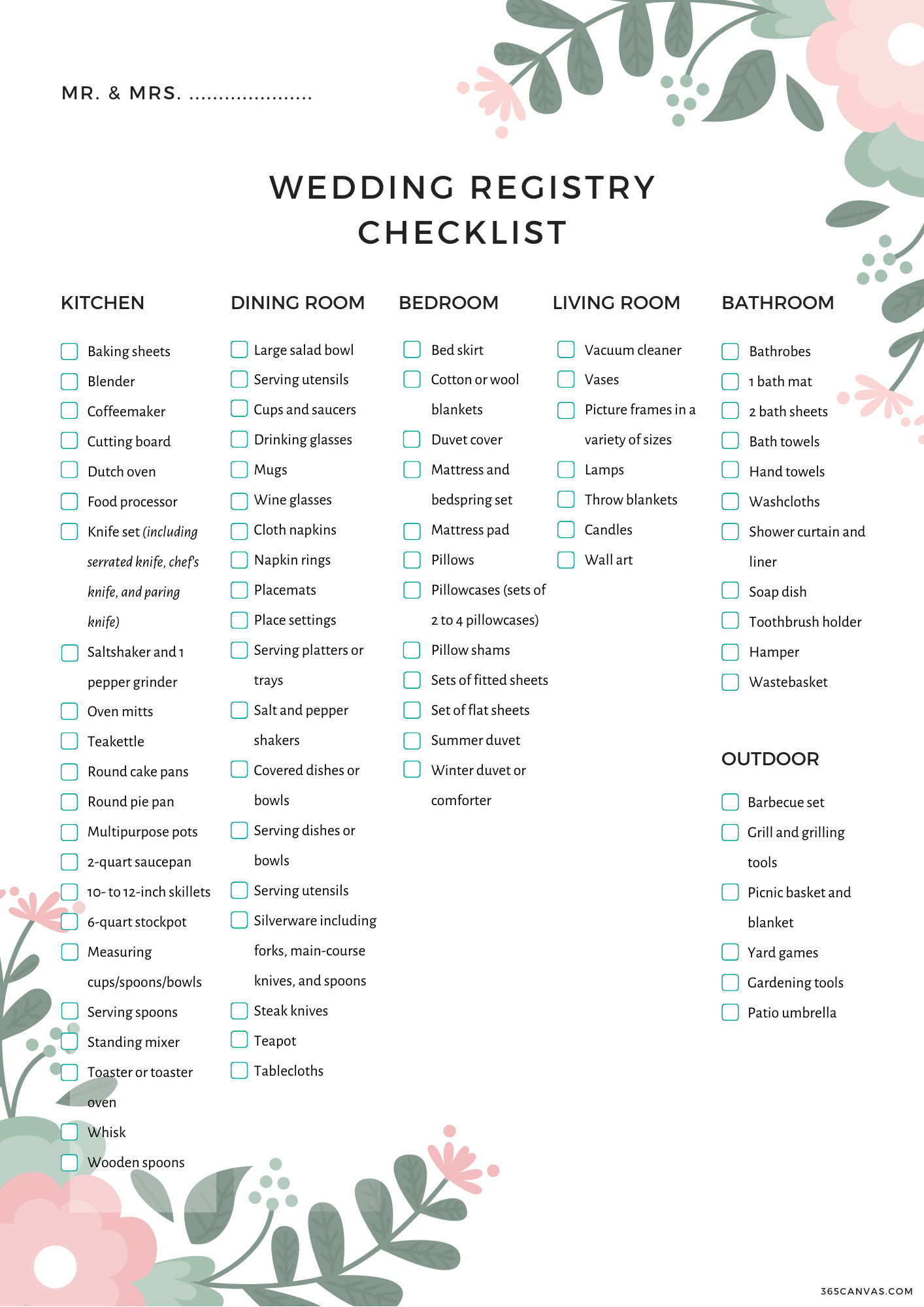 The Complete Wedding Registry Checklist (Free Printable