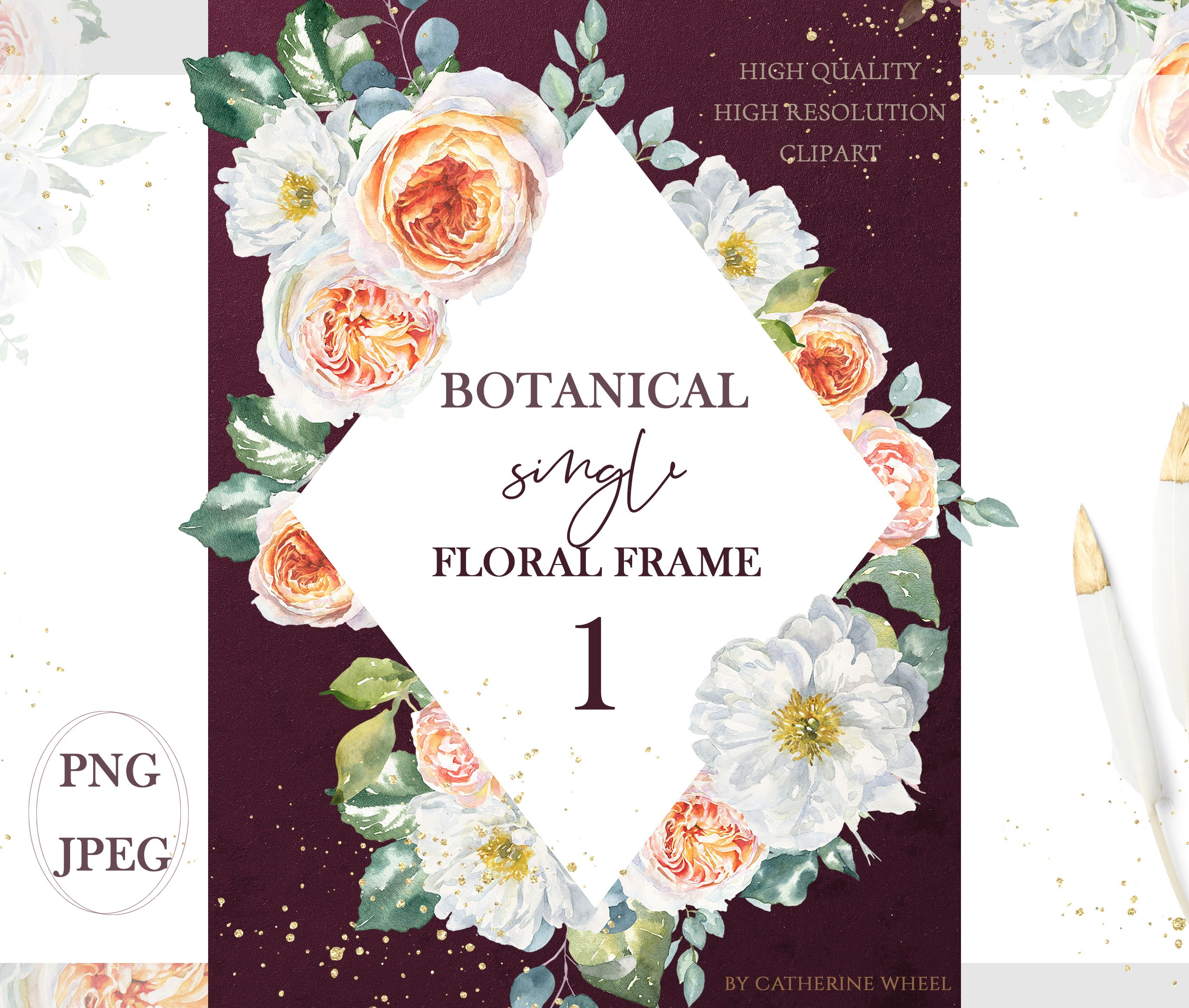Photo of Watercolor floral frame clipart, boho watercolor floral wreath, geometric flower, polygonal clipart