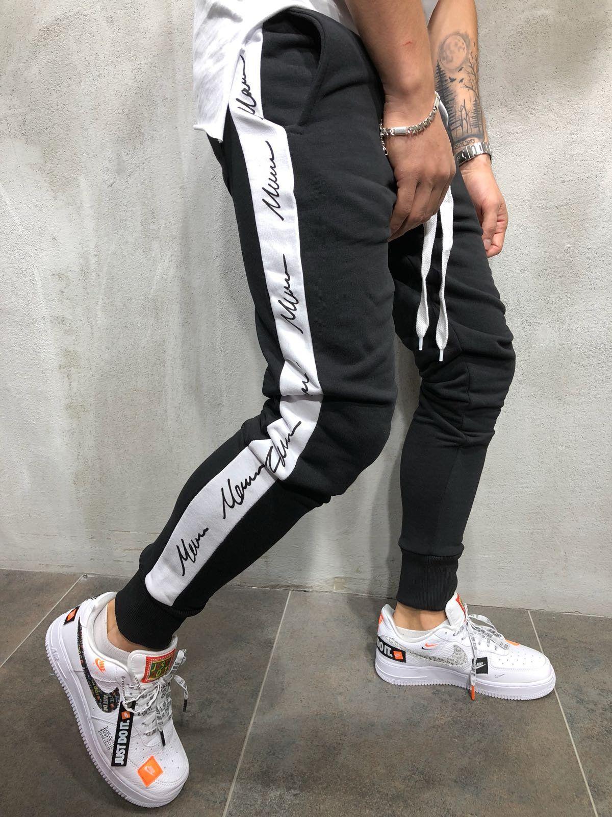 07f2e2a447 Jogger Sweatpants Side Stripes - Black White in 2019