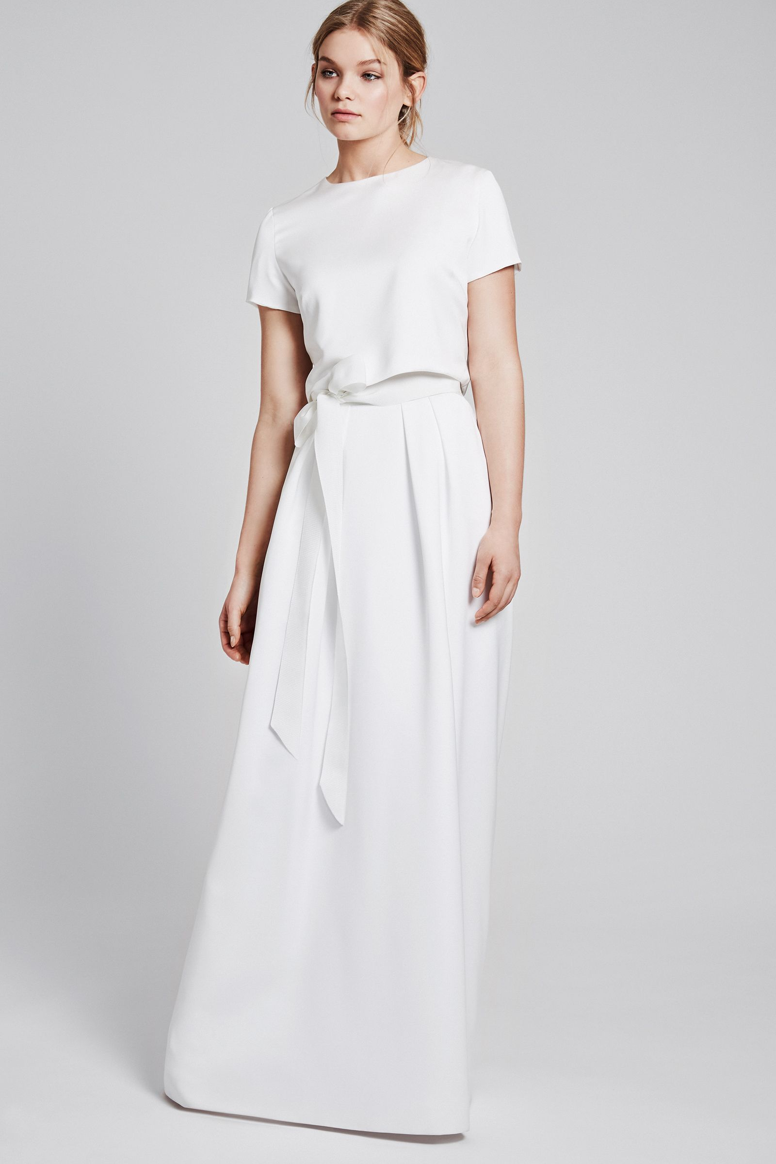 Modern simply wedding dress - ANINA-ISABEL in ivory with a ribbon
