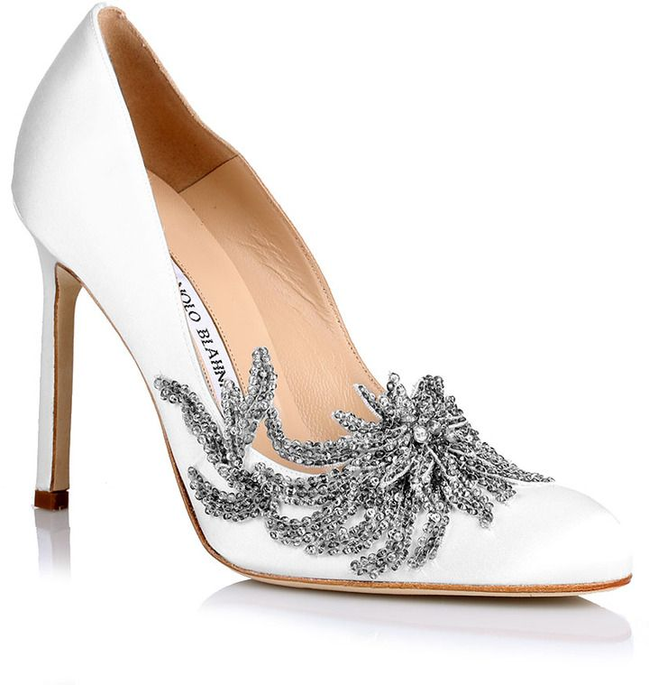 a0d360702b7 Ahh wedding shoes! Manolo Blahnik Swan white satin pump on shopstyle.co.uk