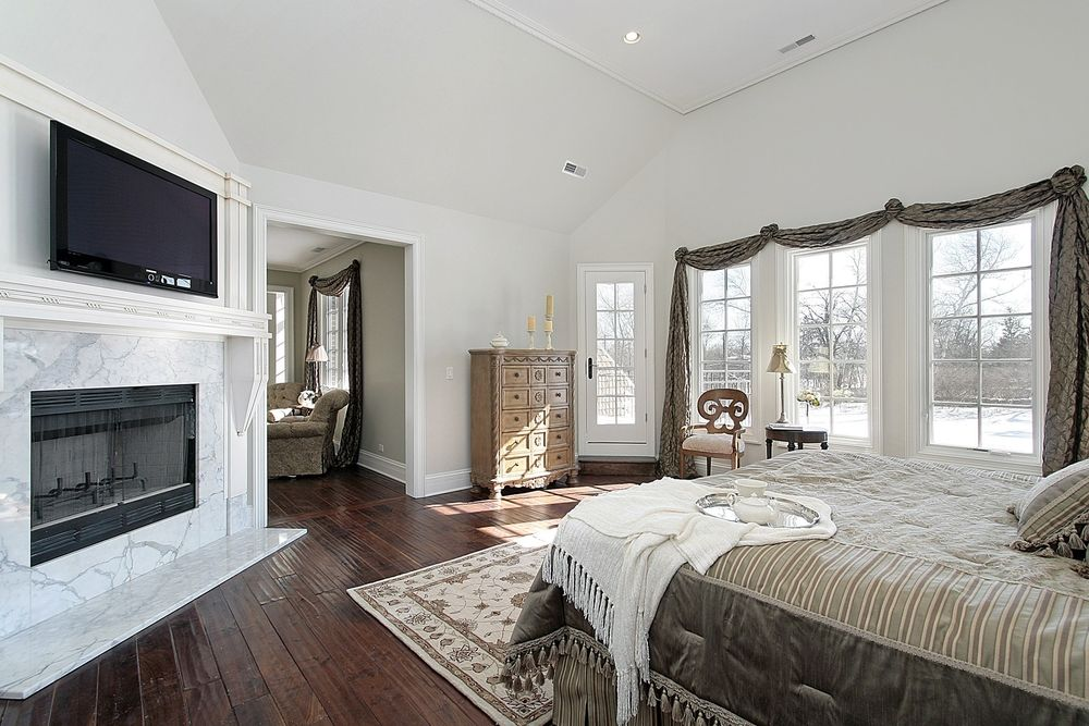 75 Impressive Master Bedrooms with Fireplaces The balcony High