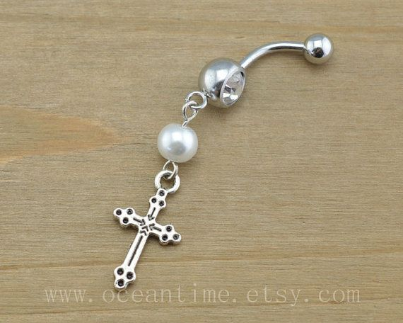 Pearl Cross Belly Button Rings Cross Navel Jewlery Pearl Belly