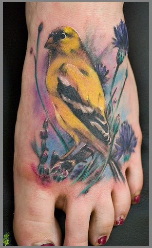 Canary And Filler Yellow Tattoo Watercolor Bird Tattoo Yellow Bird Tattoo