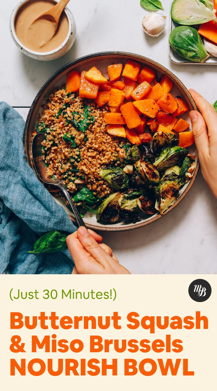 Butternut Squash Miso Brussels Sprouts Bowl Minimalist Baker Recipes Recipe In 2020 Brussel Sprouts Butternut Squash Recipes