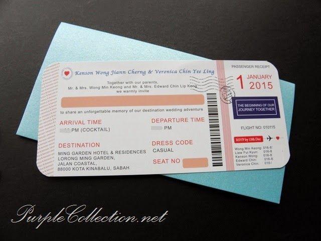 Magenta Travel Boarding Pass Wedding Card Wedding card, Boarding - best of wedding invitation card kota kinabalu