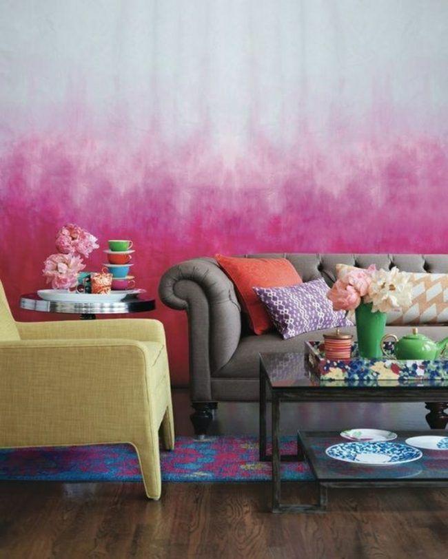 wohnzimmer wandgestaltung pink romantisch rosa vintage couch grau