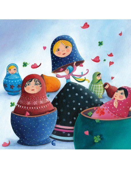 """Carte carrée Marie Cardouat """"Les poupées russes"""""""