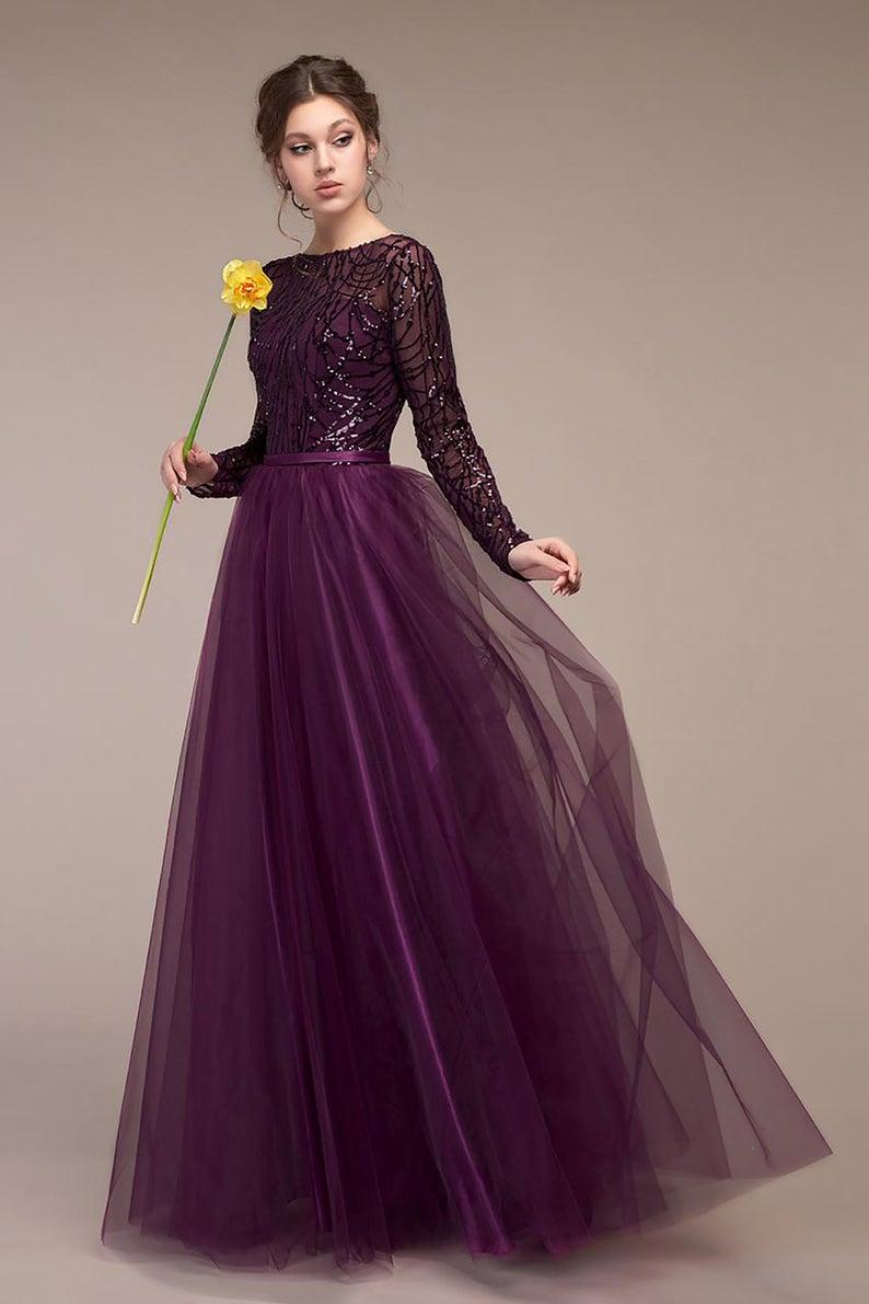 Plum Dress Wedding Guest Dress Eggplant Evening Gown Long Chiffon Dress Summer Patry Dress Chiffon Dress Long Winter Wedding Guest Dress Gown Party Wear [ 1191 x 794 Pixel ]
