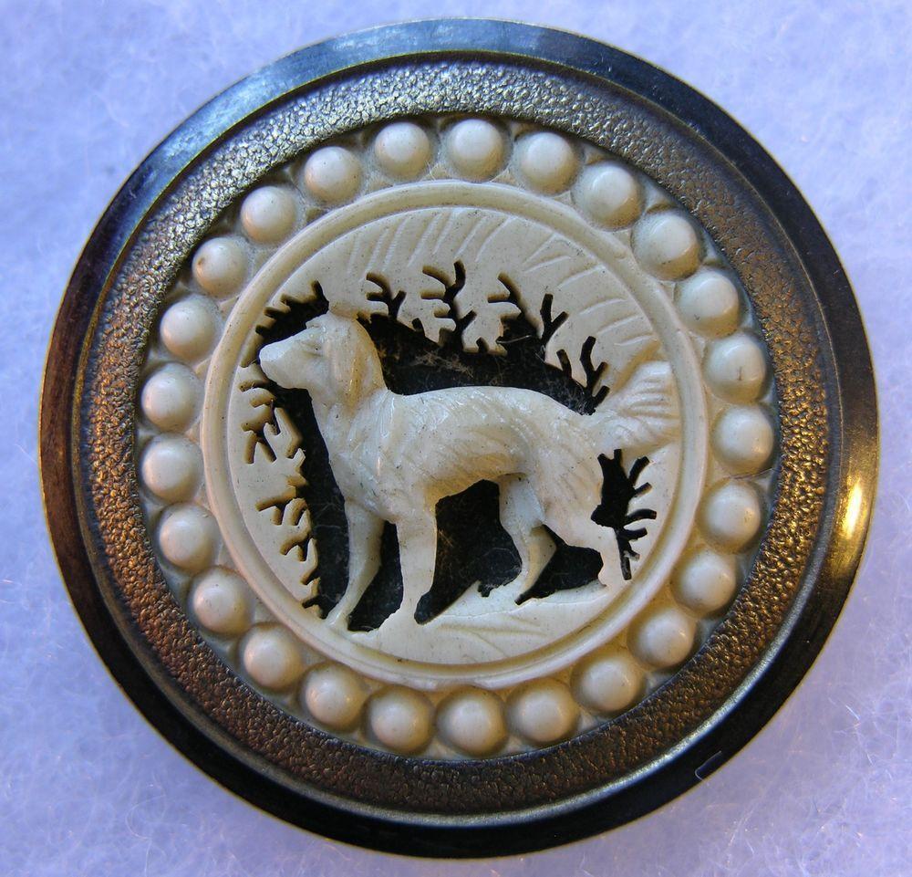Gros BOUTON ancien en matière Naturelle sur métal CHIEN (3,4 cm) Antique button