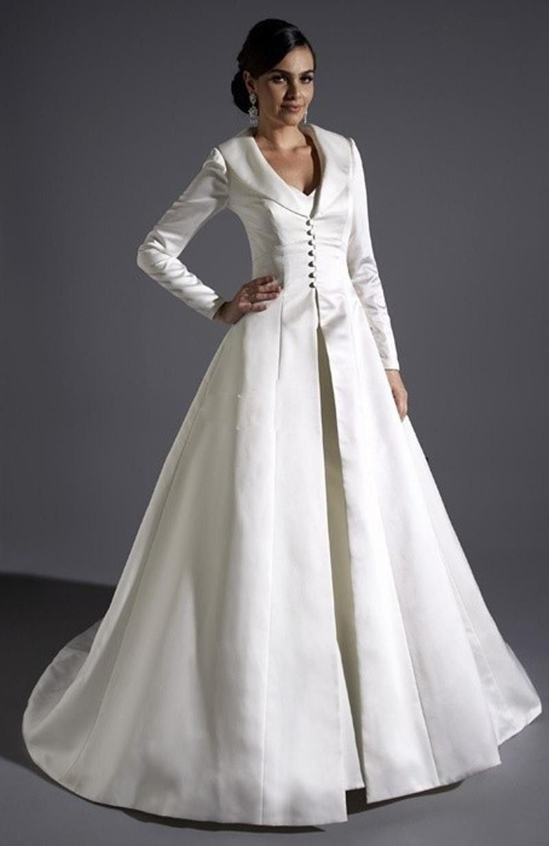 Ivory Two Piece Victorian Gothic Wedding Dresses with Overcoat