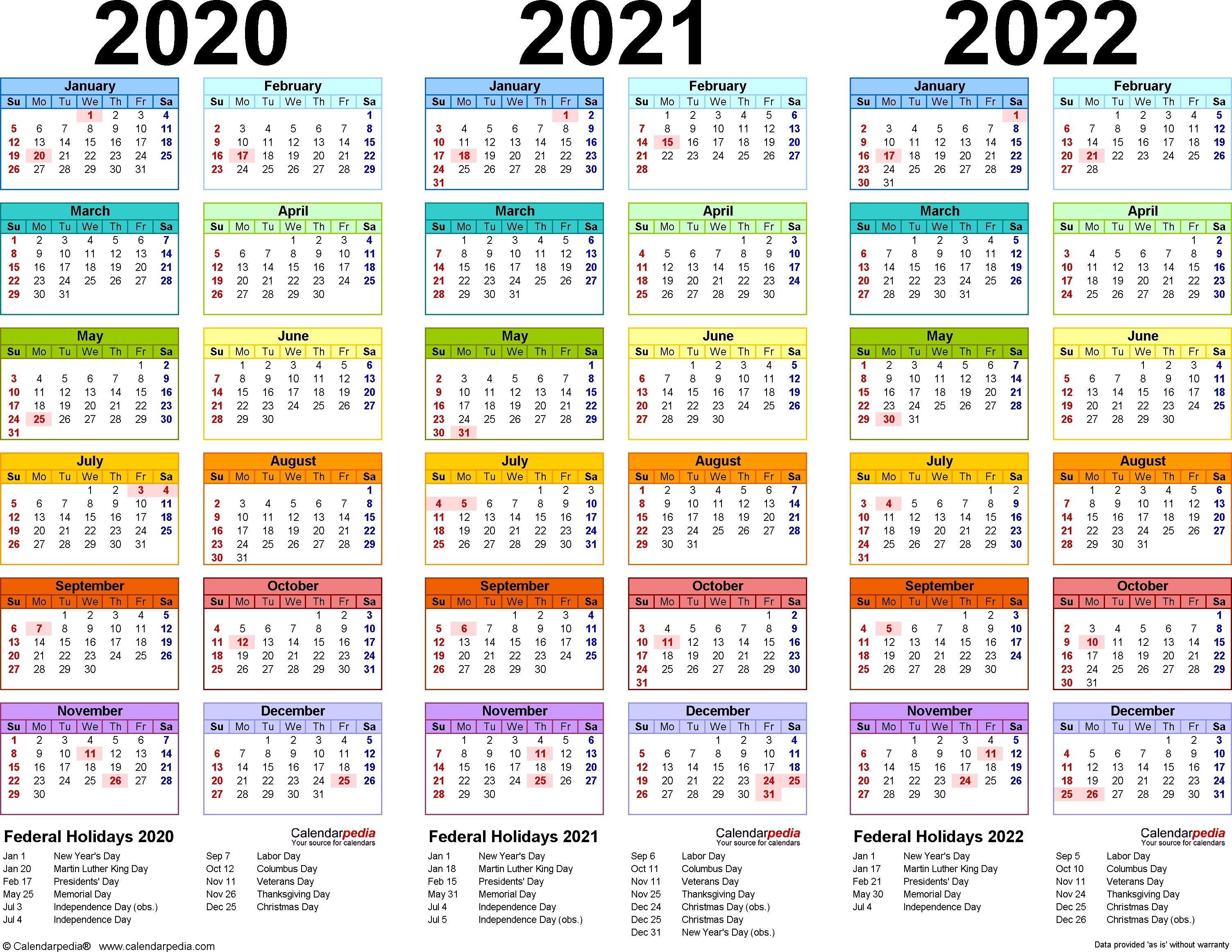 2020 2021 2022 Calendar 4 Three Year Printable Pdf Calendars Free Calendar 2019 And 2020 Calendar Printables 2021 Calendar
