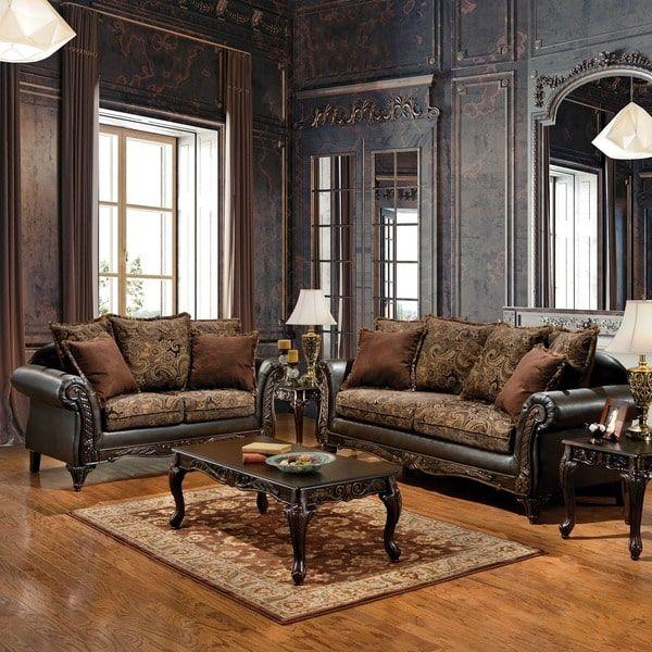 Furniture Of America Ruthy Traditional Dark Brown Floral Sofa/ Loveseat Set