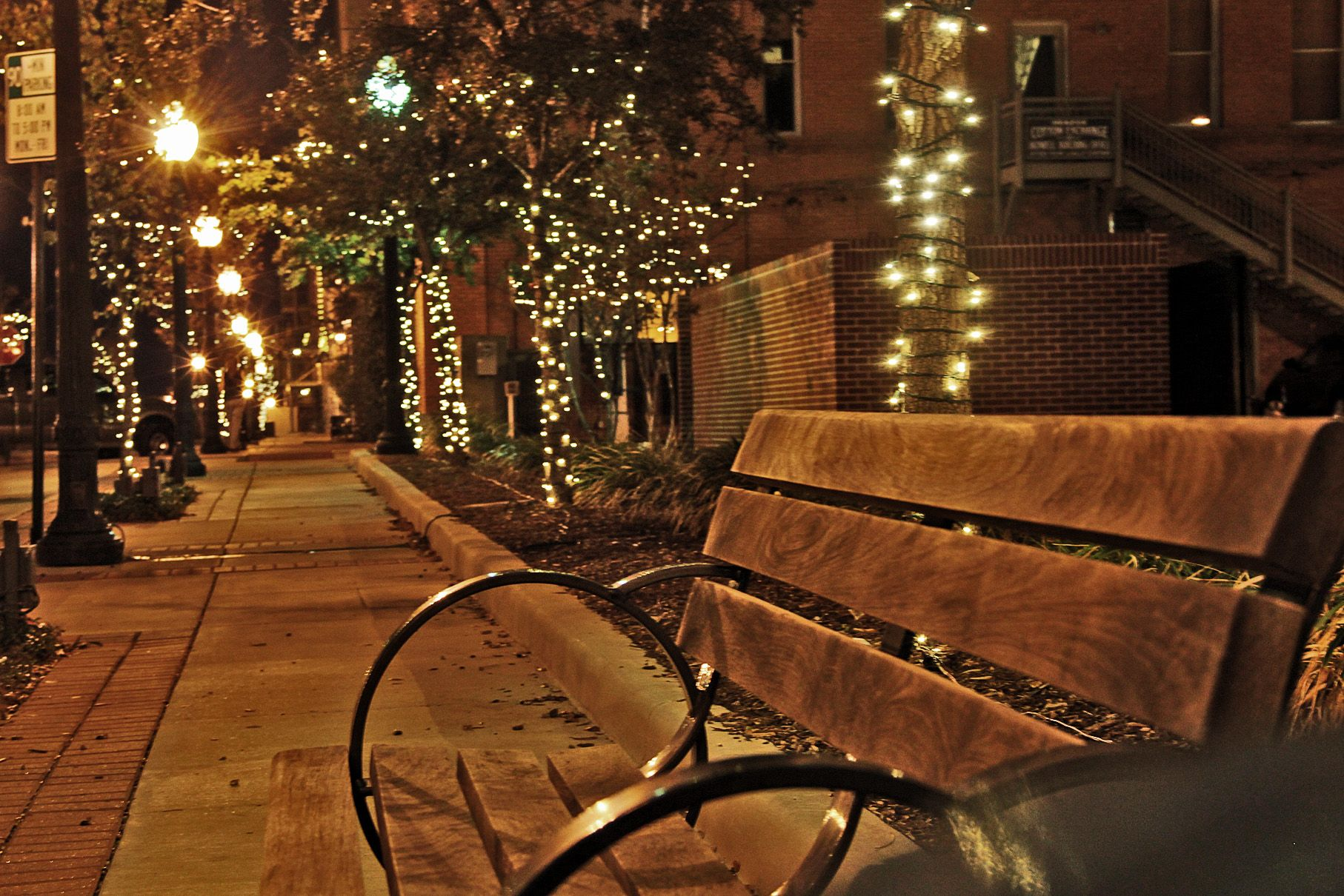 Christmas lights lining the streets in historic downtown