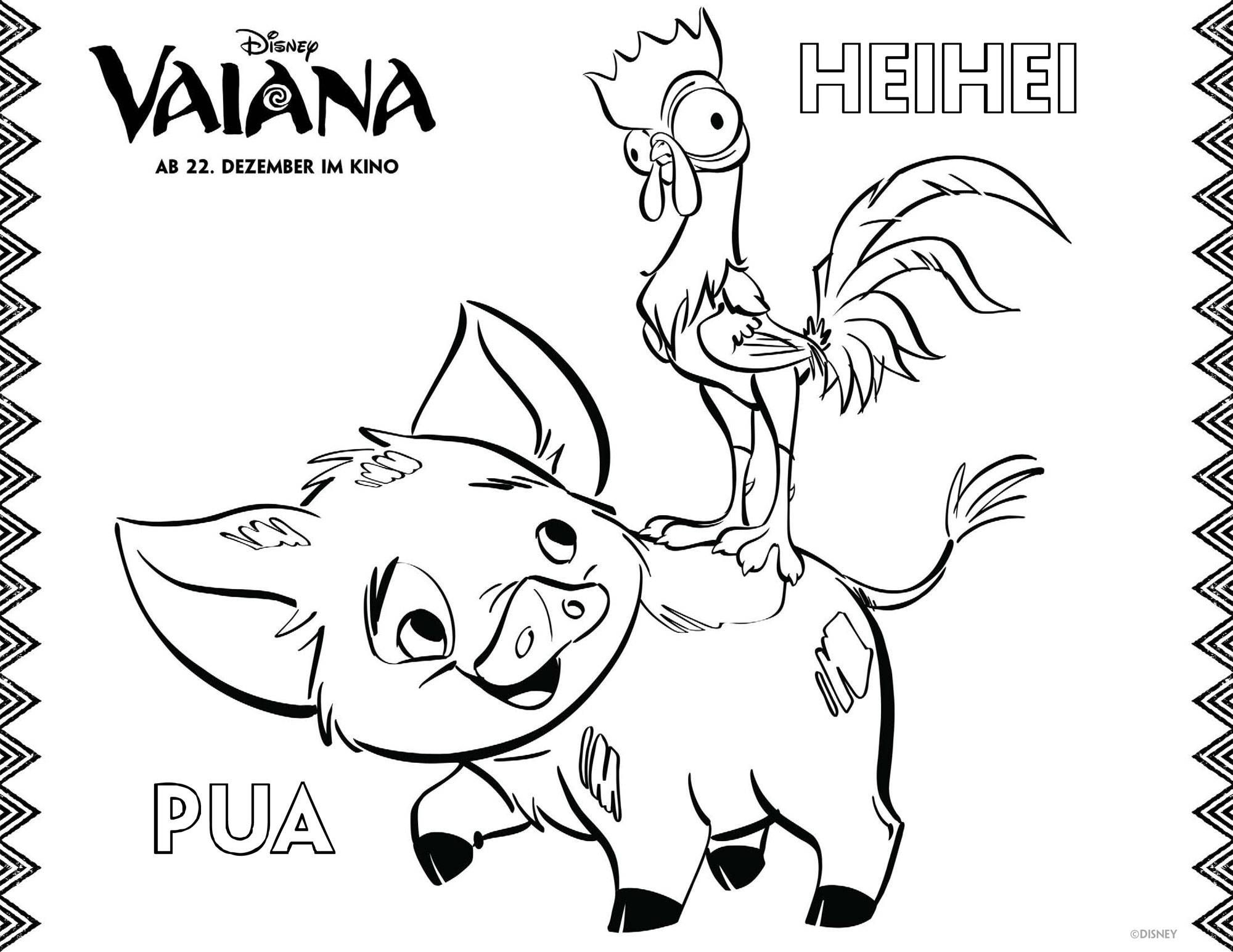 Ausmalbilder Vaiana Pua und Heihei Kostenlose