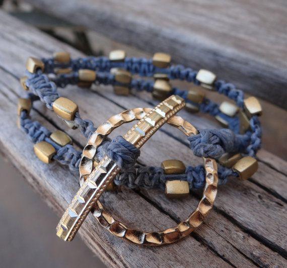 $9.00 Blue,Hand Woven, Wrap-around, Hemp Bracelet with Gold Detail   https://www.etsy.com/listing/151847316/bluehand-woven-wrap-around-hemp-bracelet?ref=v1_other_1