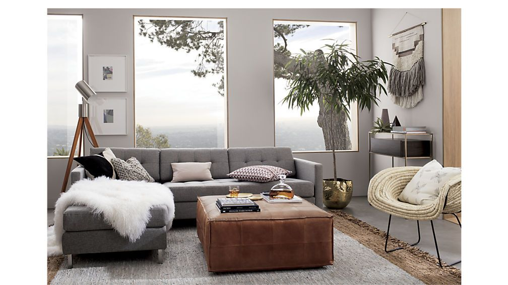 Leather Ottoman Pouf Reviews Living Room Grey Trendy Living