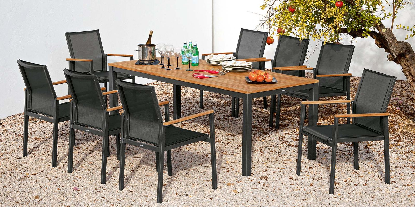 Dining furniture by barlow tyrie aura dining this range of beautiful aluminium dining furniture is light in weight making it a pleasure to use