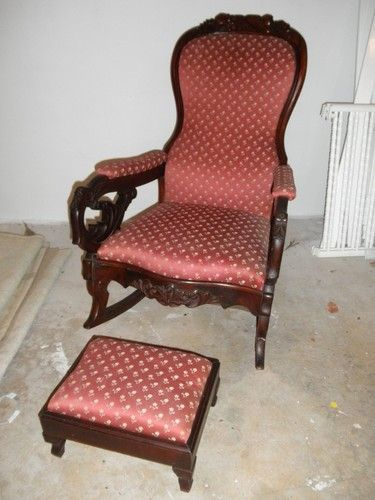 antique lincoln rocker rocking chair upholstered. Black Bedroom Furniture Sets. Home Design Ideas