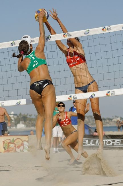 Sarah Pavan L Of Canada Spikes The Ball Over Laura Giombini Of Italy During The First Elimination Round At The Asics World Series Of Beach Volleyball Day 3