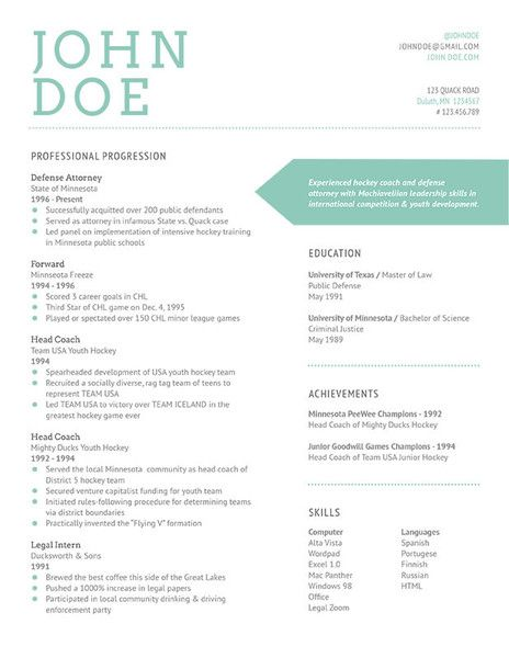 resume design  this design is very clear and uses calm