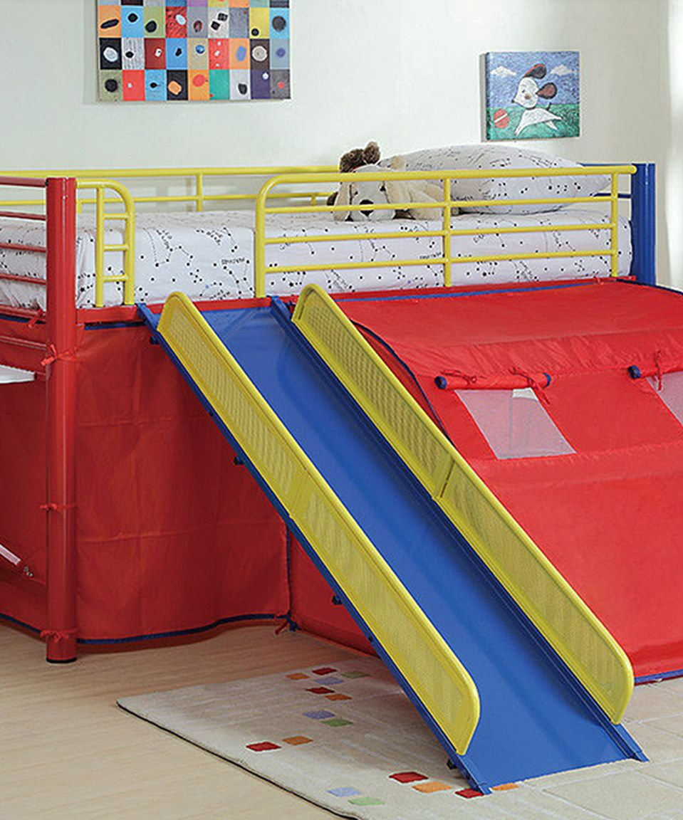 Loft bed with slide and desk  Loving this Tent u Slide Loft Bed on zulily zulilyfinds  my boy