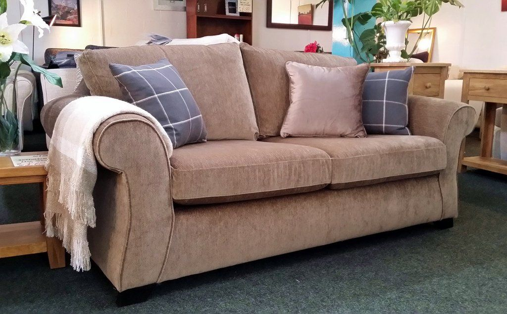 Hanover High Quality Beige Chenille Fabric Sofa Bed Rrp