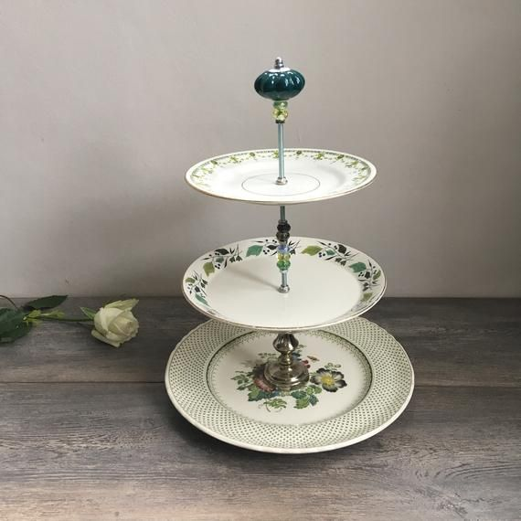 Unique handsome 3 tier china cake stand vintage wedding  birthday xmas housewarming 20th anniversary gift afternoon tea table decor #20thanniversarywedding Unique handsome 3 tier china cake stand vintage wedding  birthday xmas housewarming 20th anniversary #20thanniversarywedding