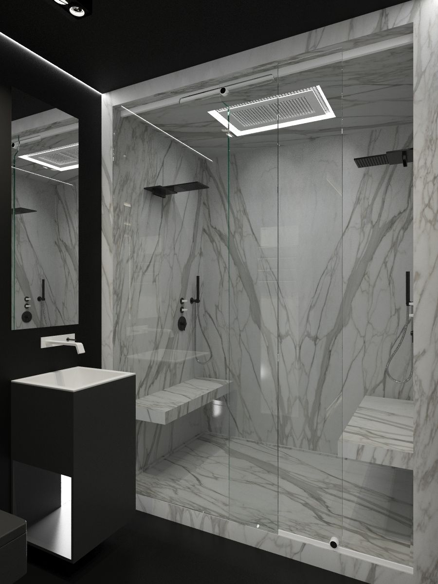 Pin By Co De F Orm Art Director On My Works Marble Bathroom Designs Modern Marble Bathroom Black Marble Bathroom