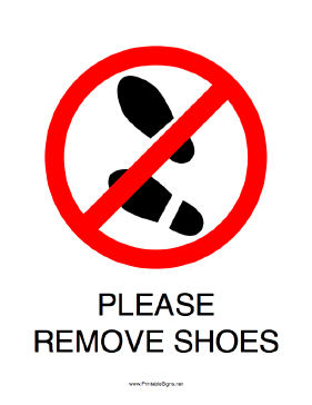 photograph regarding Please Remove Your Shoes Sign Printable Free named This printable signal directs persons in direction of take away their footwear