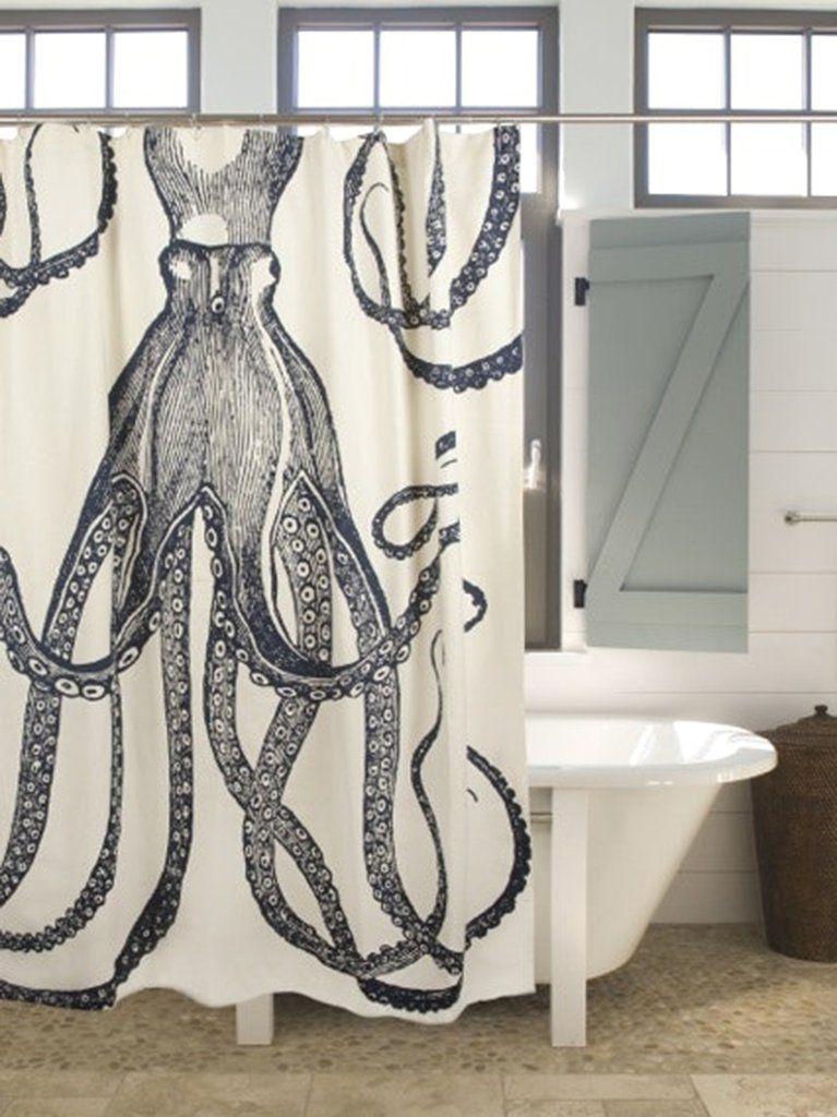 Octopus Ink Shower Curtain Bathroom In 2019 Octopus Shower