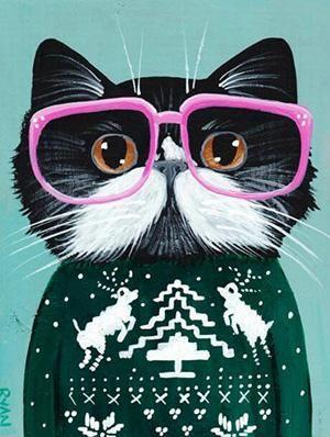 Christmas Sweater Cat with Glasses, DIY Diamond Painting Kit