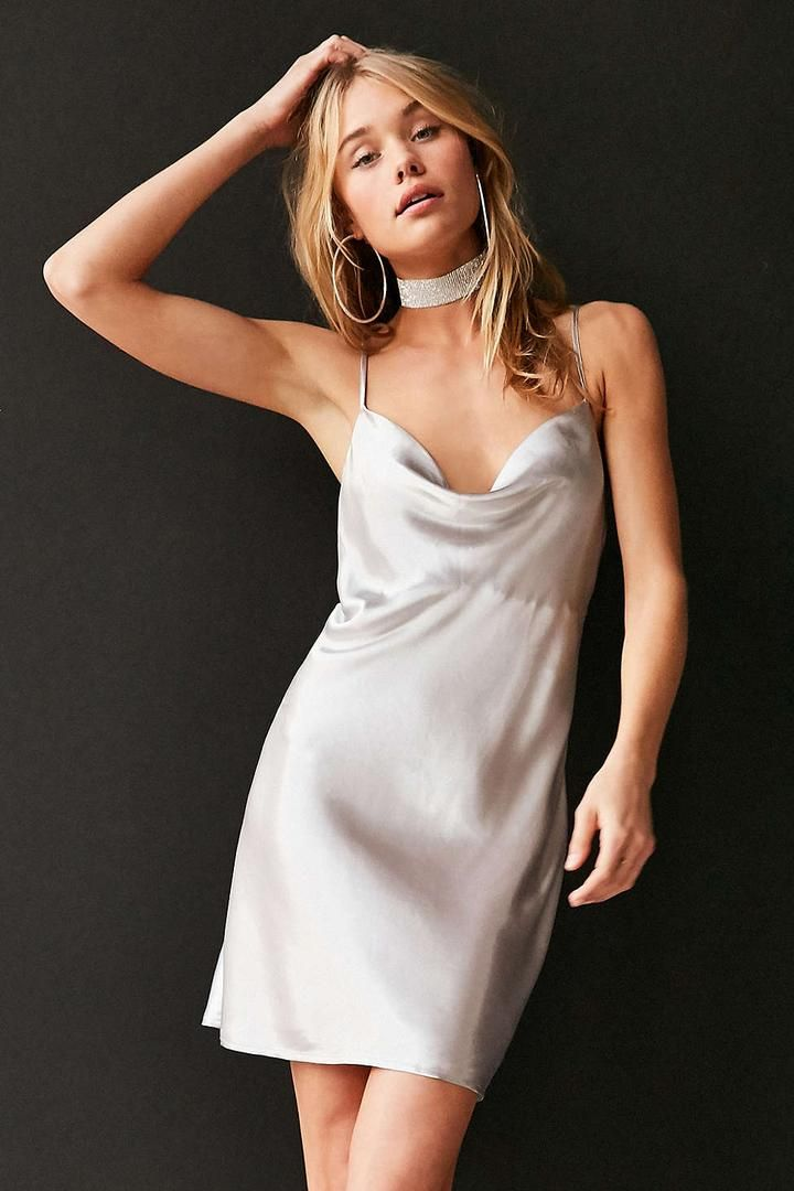 Urban Outfitters Bardot Mercury Satin Cowl-Neck Mini Slip Dress ...