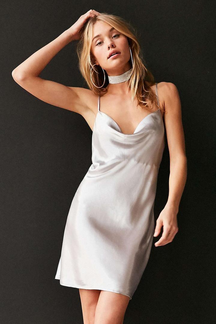 c4584c9654a6 Urban Outfitters Bardot Mercury Satin Cowl-Neck Mini Slip Dress ...