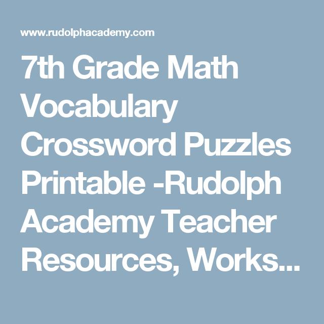 7th Grade Math Vocabulary Crossword Puzzles Printable -Rudolph ...