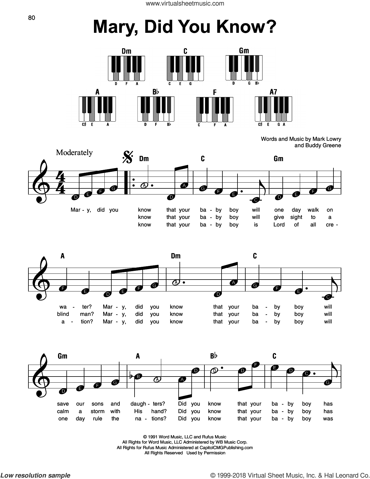 Greene - Mary, Did You Know? sheet music for piano solo PDF in 2020 | Easy piano sheet music ...