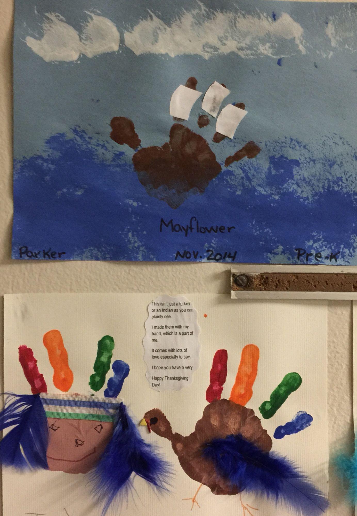 Indian Pilgrim And The Mayflower Ship Handprint Craft
