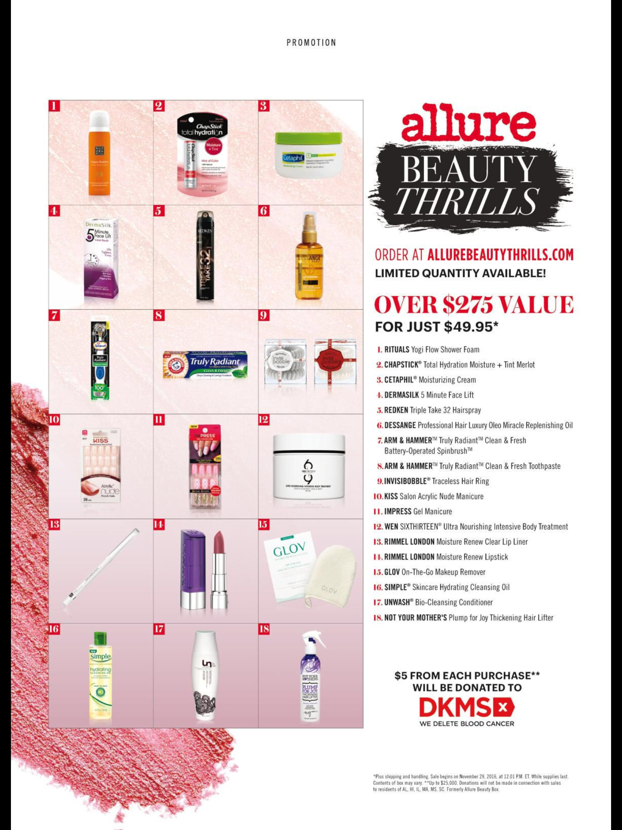 December 2016 Allure Beauty Thrills Box Available Now Msa Shower Foam Allure Beauty Beauty Box