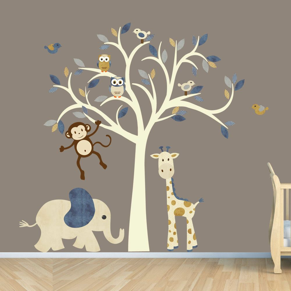 Cream Tree Decal Denim Color Boy Room Wall Decal Jungle Animal - Jungle themed nursery wall decals
