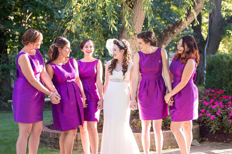 Purple bridesmaid dresses and grey groomsmen tuxedos - great color ...