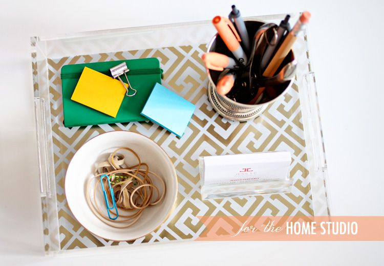 love this beautiful tray to help organize desktop necessities!