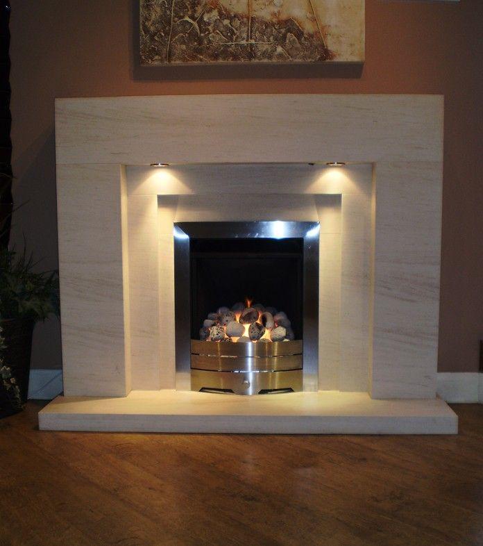 Lister limestone fireplace with lights | Pinterest | Stone ...