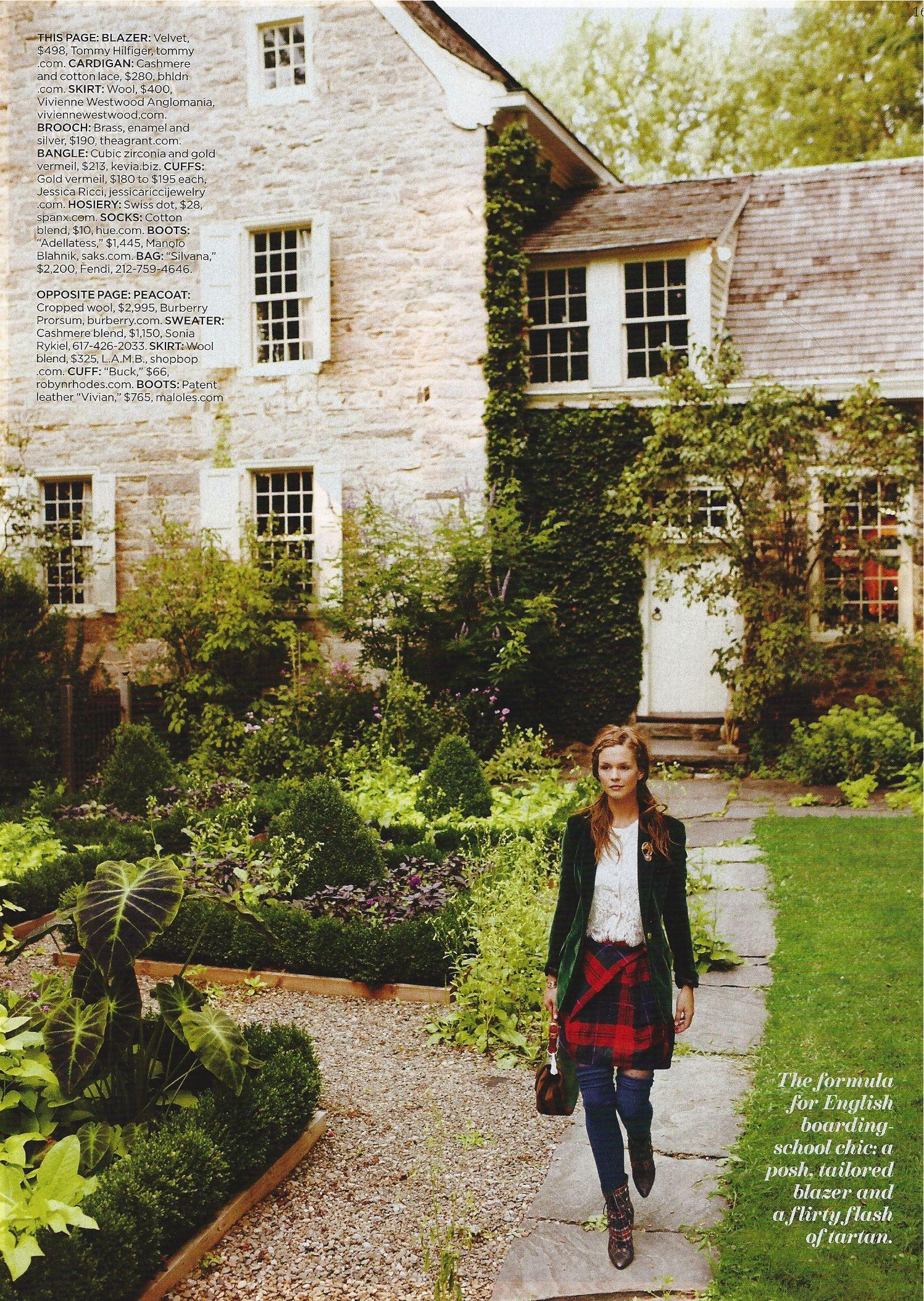 english scottish chic - long blue stockings, red plaid skirt, green velvet blazer