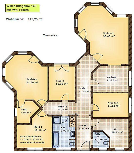 Winkelbungalow 149 mit 2 erkern einfamilienhaus neubau for Grundriss neubau einfamilienhaus