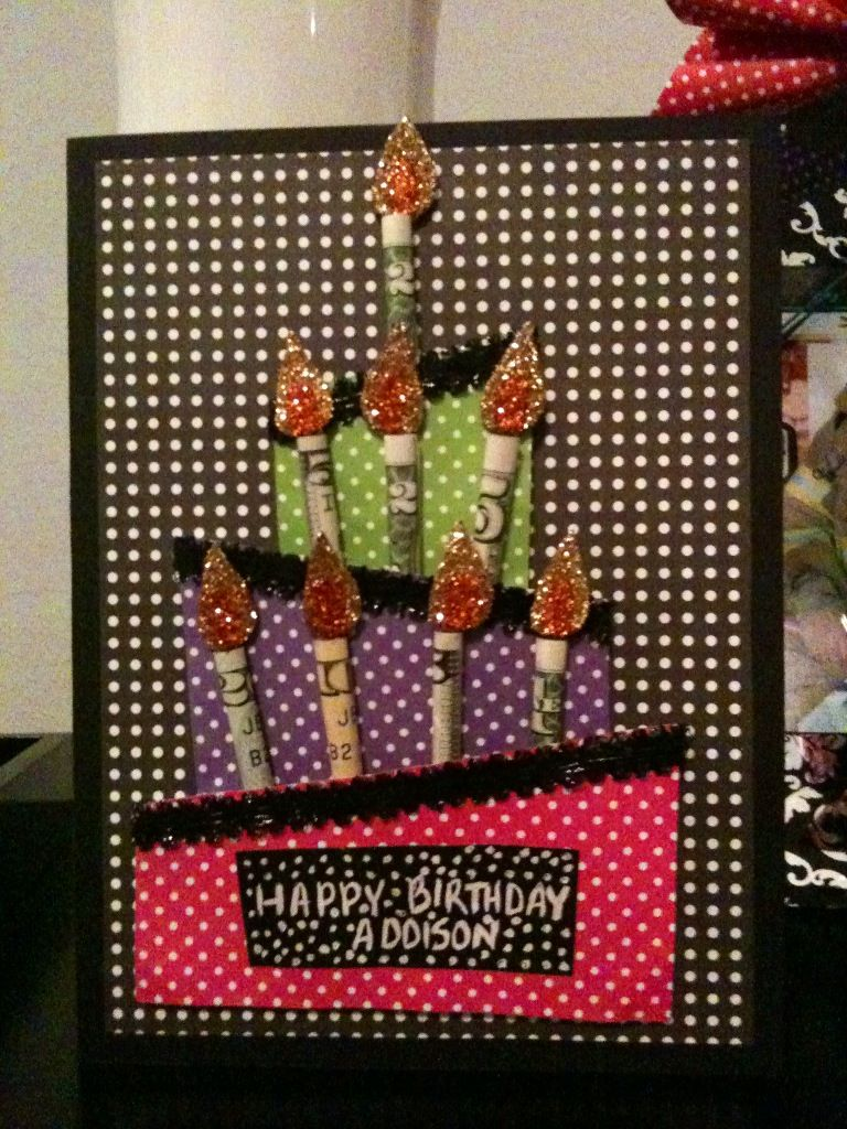 Pin By Jennifer Pilcher On Birthday Gifts Birthday Candle Card Birthday Money Gifts Homemade Birthday Cards