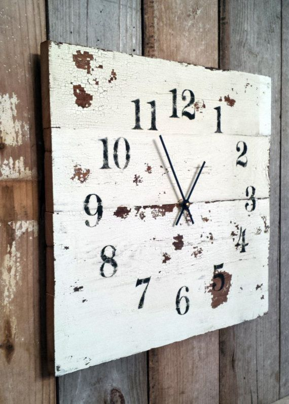 rustic wood clock like pallet clock distressed aged. Black Bedroom Furniture Sets. Home Design Ideas