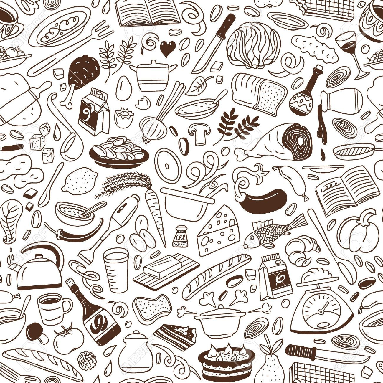 20674500 Cookery seamless background Stock Vector food