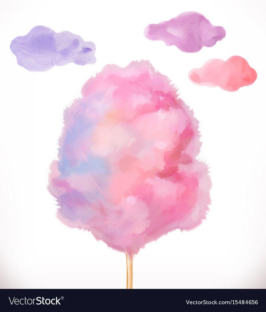 Cotton Candy Sugar Clouds Watercolor Vector Illustration Download A Free Prev Sussigkeiten Kunst Kleine Leinwand Kunst Wolken Malen