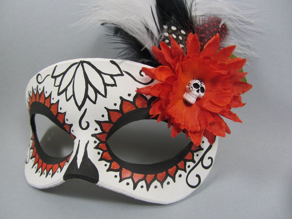 Day of the dead orange lotus flower mask by maskedzone all dolled day of the dead orange lotus flower mask by maskedzone izmirmasajfo